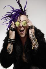 man with purple hair