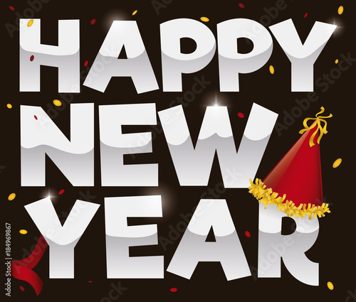 Confetti, Streamer, Party Hat and Greetings for New Year, Vector ...