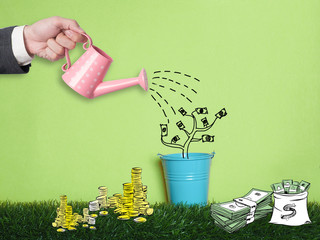 Businessman confirm project .Idea business on white background.he  watering something for business growth.