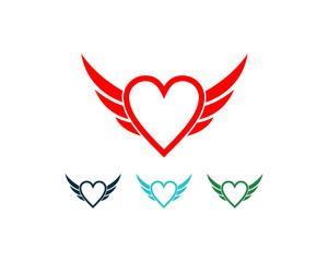 Flying Wings Heart Symbol Logo Vector