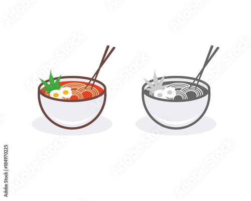 Ramen Egg Noodles On The Bowl And Chopsticks The Restaurant