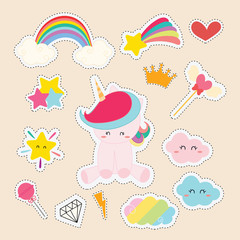set of cute sticker with unicorn