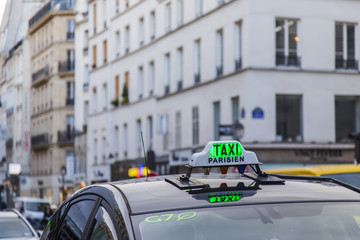 PARIS, FRANCE, on October 27, 2017. The car of the taxi goes on the city street