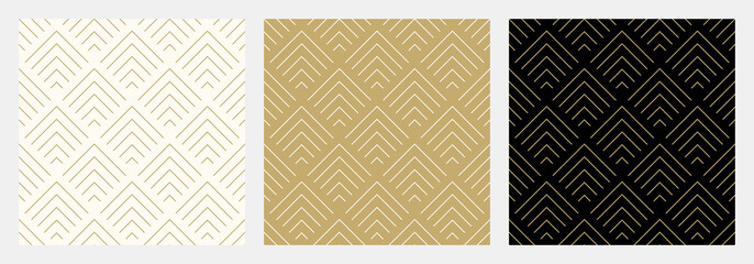 Pattern seamless chevron abstract wave background stripe gold luxury color and line. Geometric line vector. Christmas background. Wall mural