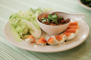 Fresh chili dip with salted egg Thai food