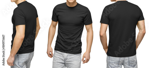 Young Male In Blank Black T Shirt Front And Back View Isolated White
