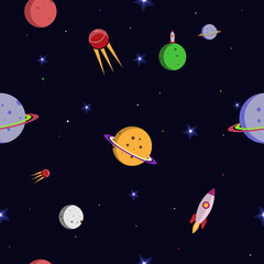 Space. Rocket. Planets and stars in a flat style. Seamless pattern.