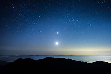 南アルプス、北岳からの絶景、鳳凰三山、夏の星座