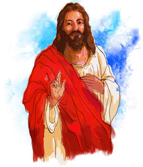 painting style illustration of Jesus Christ ( yeshu )