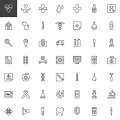 Universal medical elements line icons set, outline vector symbol collection, linear style pictogram pack. Signs, logo illustration. Set includes icons as cardiogram, hospital, stethoscope, medicine