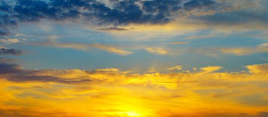beautiful sun rise and cloudy sky.Wide photo .