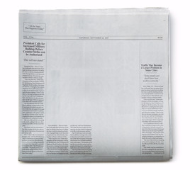 Fake Newspaper Partially Blank with Fake Articles on White Background