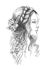 Wedding portrait. Monochrome portrait of a girl with flowers in her hair. Fashion woman. Hand drawn sketch. Vector illustration isolated on white background.