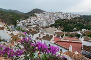 Landscape of the white city Frigiliana, Andalusia Spain