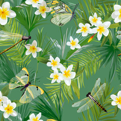 Tropical Floral Seamless Pattern with Dragonflies. Jungle Background with Palm Tree Leaves and Exotic Flowers for Wallpapers and Fabric. Vector illustration
