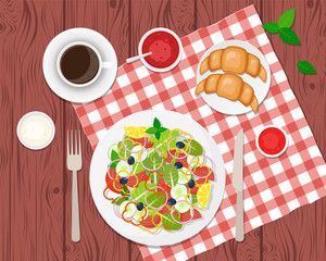 Vector illustration of healthy breakfast on the table. Ccoffee, salad, toasts and croissants. Vector flat illustration.