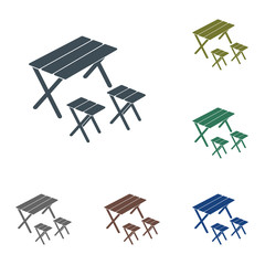 Camping table and stool icon