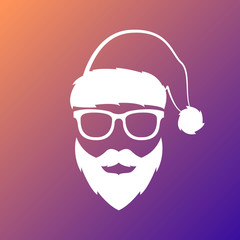 Santa Claus with mustache and beard. Merry Christmas and Happy New Year. Vector illustration.