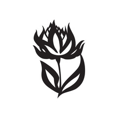 Black image of flower on white background. Decorative silhouette as element of design or logo. Vector isolated.