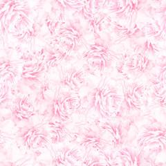 SEAMLESS pattern of pink peony blossoms