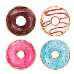 Watercolor tasty donuts set