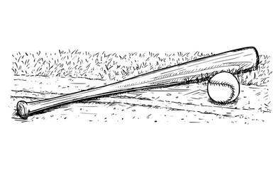 Baseball Bat and Ball Vector Hand Drawing