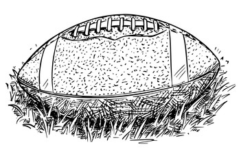 American Football Ball Vector Hand Drawing Illustration