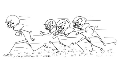Cartoon of American Football Player Running with Ball