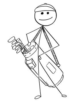 Cartoon of Golf Player Carrying Bag of Clubs