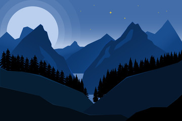 Landscape of night mountains in flat style. Design element for poster, banner.