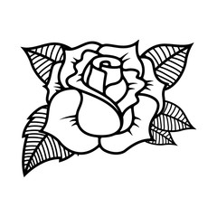 Tattoo style rose illustration on white background. Design elements for logo, label, emblem, sign.