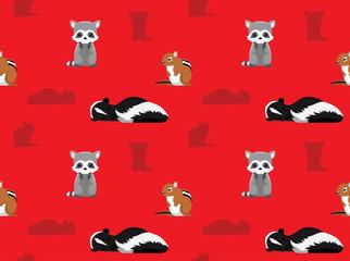 Chipmunk Raccoon Skunk Animals Seamless Wallpaper 5