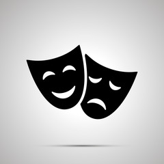 Happy and sad theater masks, simple icon