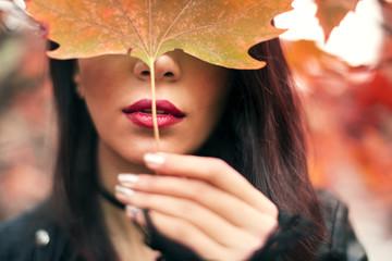 Portrait of a woman in fall season
