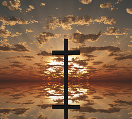 Sunset or sunrise with cross