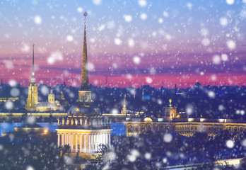 Winter in Russia. Christmas background : Saint Petersburg at winter evening. Vintage colored picture. X-mas, New Year, Europe, Love and travel concept