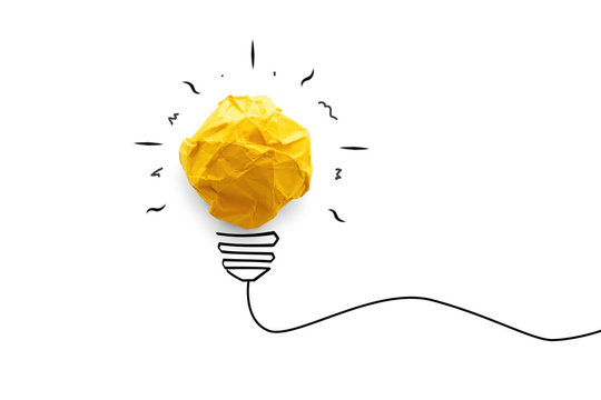 Idea concept with innovation and paper light bulb. creative business on white background