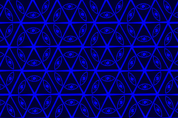 All Seeing Eye of God - blue - vector pattern, Mason symbols, Eye of Providence,
