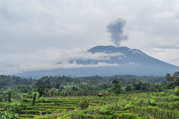 Keuken foto achterwand Vulkaan Agung volcano eruption view near rice fields, Bali, Indonesia