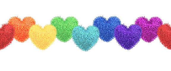 Decortive elements with pom-poms in the shape of a heart