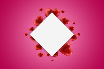 Happy Valentine's Day web banner. Composition with red hearts and a white rhombus in the center on a pink background. Flyer, postcard, invitation, illustration.