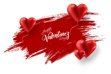 Happy Valentine's Day, web banner. Composition with red balloons in the form of a heart against a red brush stroke. Romantic background, Flyer, postcard, invitation, raster illustration.