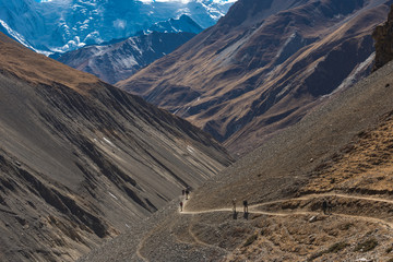 tourists in the hills of the himalayas