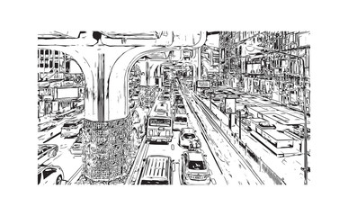 Sketch of Bangkok City skyline, Thailand in vector illustration.