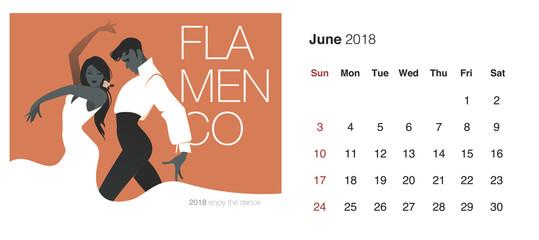 2018 Dance Calendar. June. Young couple Spanish dancers dancing flamenco