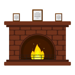Vector illustration of red brick fireplace with framed documents, isolated on white background, in flat style.