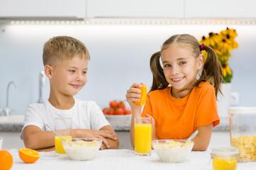 Children eat corn flakes for breakfast