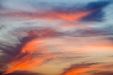 Sunset skies with clouds