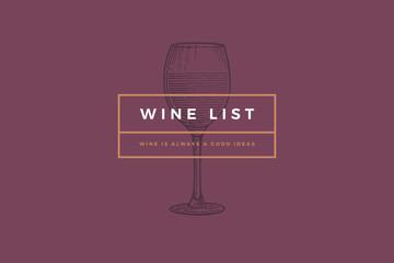 Logo template for design wine card, leaflet, menu, restaurant or bar. Vector image of wine glasses on maroon background. Engraved style.