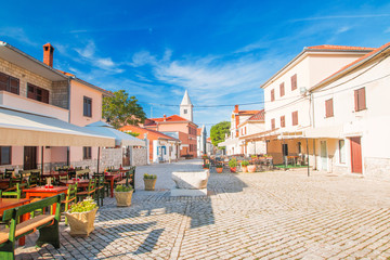 Street cafes in the old medieval historic town of Nin, Dalmatia, Croatia, Mediterranean ambient